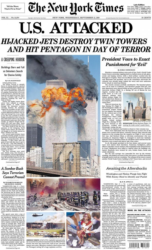 [Cover of the New York Times after 9/11]